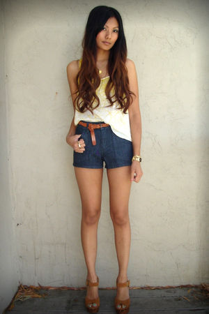 yellow f21 top - blue Heritage shorts - brown H&amp;M belt - brown Jeffrey Campbell 