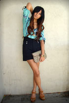 green Yumi Kim blouse - brown Jeffrey Campbell shoes - black Zara shorts