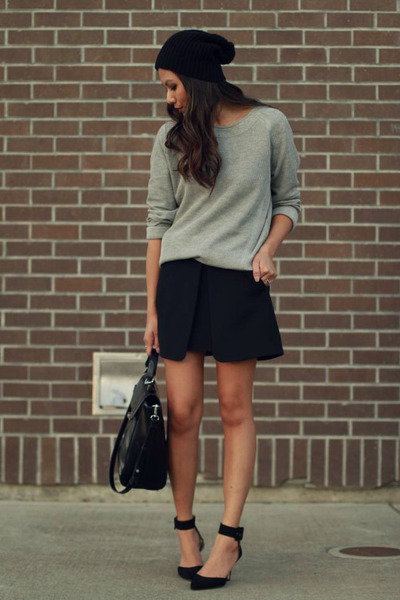 heather gray Zara sweatshirt - black Zara skirt - black Zara heels