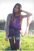 navy Levis shorts - black Forever 21 t-shirt - light pink Topshop cardigan
