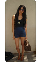 brown Cynthia Vincent shoes - brown LV bag - blue lucca couture shorts