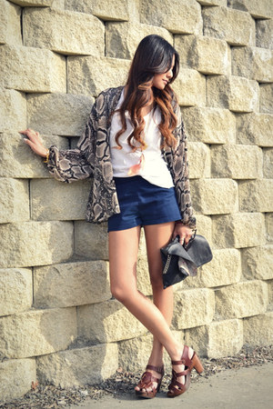 navy lucca couture shorts - peach DIY F21 necklace - dark khaki Topshop blouse -
