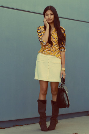 gold H&M Trend blouse - dark brown naughty monkey boots - cream Zara skirt