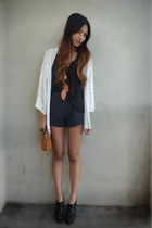 black Forever 21 shorts - cream moth cardigan