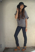 gray love21 blouse - blue J Brand jeans - black Forever 21 hat - brown Jeffrey C