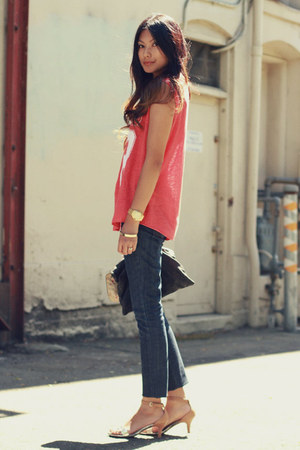navy Kova &amp; T jeans - red number shirt Zara t-shirt