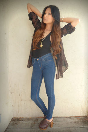 black Forever 21 blouse - black Forever 21 top - blue BDG jeans - brown Steve Ma