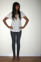 alternative apparel top - Aqua leggings - forever 21 necklace - Urban Outfitters