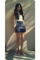 beige matty m blouse - beige love21 top - gray f21 shorts - brown Jeffrey Campbe