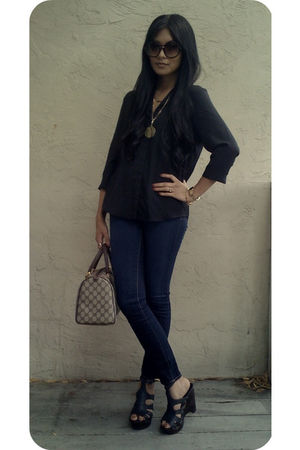 black SilenceNoise blouse - blue J Brand jeans - black Steve Madden shoes - brow