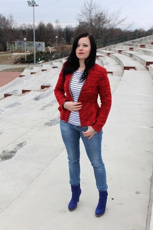 ruby red Zara jacket - light blue Zara jeans - white H&M blouse