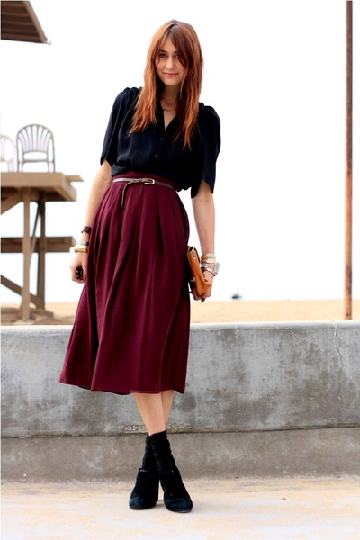 vintage blouse - red vintage skirt - black Jeffrey Campbell shoes