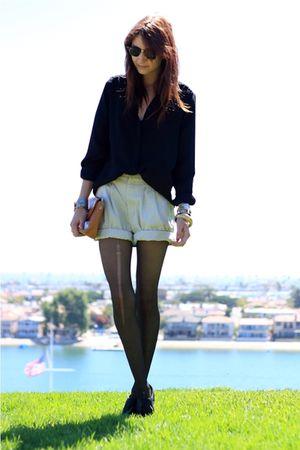 black Zara blouse - black seychelles shoes - beige thrifted shorts