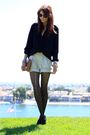 Black-zara-blouse-beige-thrifted-shorts-black-seychelles-shoes