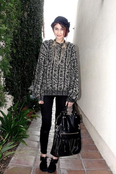 black thrift sweater - Celebrity Pink pants