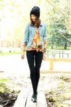 sky blue vintage jacket - carrot orange vintage blouse