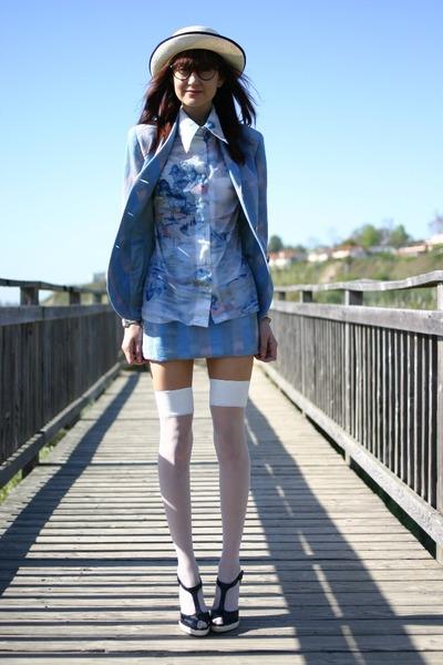blue vintage suit - blue vintage blouse