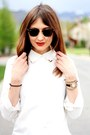 White-blouse-sky-blue-vintage-levis-shorts-black-ray-ban-sunglasses