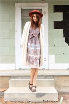 beige vintage dress - white thrift sweater - brown Frye shoes