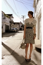 beige vintage accessories - brown vintage dress