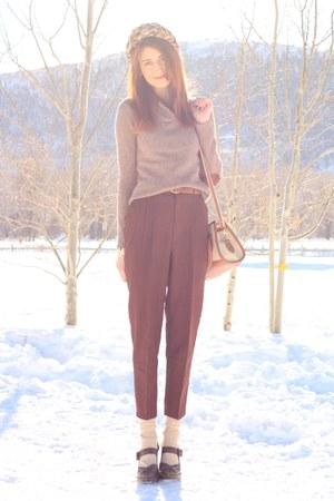 dark khaki thrifted sweater - dark brown thrifted pants