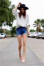 Blue-acne-shorts-beige-thrift-blouse