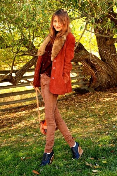 tawny vintage jacket - dark brown vintage blouse - bronze Raven Denim pants