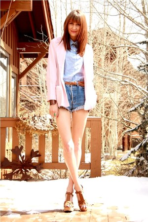 peach thrifted jacket - blue Levis shorts - periwinkle thrifted blouse - tawny A