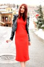 Red-lulus-dress-black-jacket-black-aldo-heels