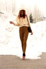 Cream-topin-sweater-bronze-american-apparel-pants-dark-brown-vintage-bag