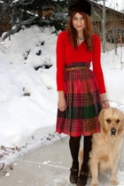 red vintage skirt - vintage sweater - fur hate hat