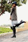 Blue-thrifted-dress-gray-urban-outfitters-sweater-black-seychelles-boots