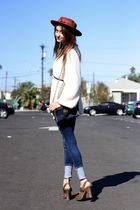 blue Cheap Monday jeans - brown Frye shoes - white thrifted sweater - blue Burbe