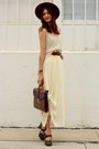 Cream-thrifted-skirt-cream-thrifted-top-dark-brown-frye-heels