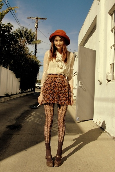 beige vintage shirt - brown Frye shoes - brown Nordstrom tights