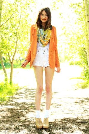 carrot orange blazer - sky blue vintage scarf
