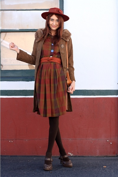 orange thrifted dress - brown vintage jacket - brown Frye shoes