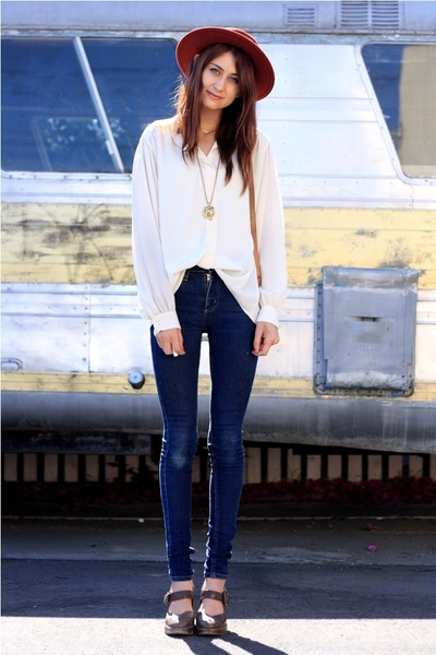beige vintage top - blue Cheap Monday jeans - brown Frye shoes - orange vintage
