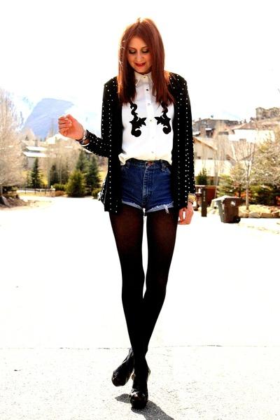 white blouse - black sweater - navy vintage Wrangler shorts