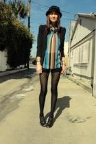Trash Pretty blouse - Vintage Versace shorts - H&M blazer - jeffrey cambell shoe