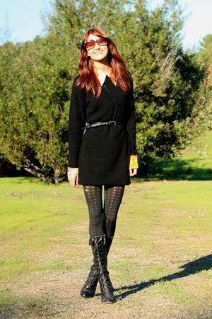 black thrifted dress - orange vintage blouse - black seychelles boots - brown Lo