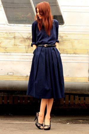 blue thrifted blouse - blue skirt