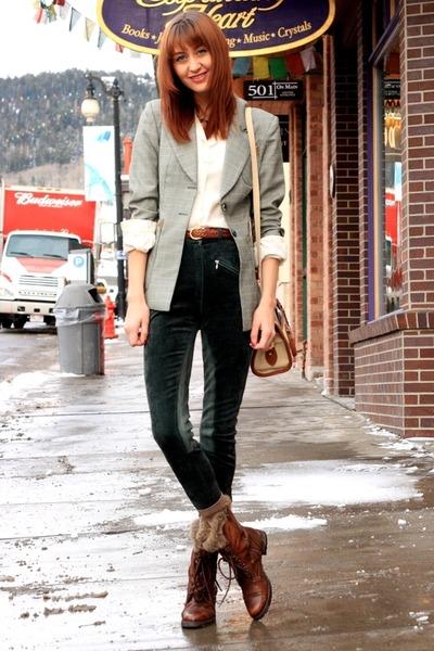 brown Steve Madden boots - silver vintage blazer - green vintage pants