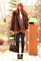 dark brown vintage coat - navy James Jeans jeans - tawny vintage sweater - black
