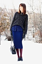 navy skirt - navy sweater - navy blouse - black Report heels