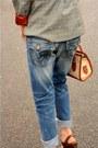 Blue-true-religion-jeans-dark-green-vintage-jacket-dark-brown-frye-heels