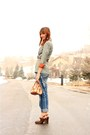 Blue-true-religion-jeans-dark-green-vintage-jacket-dark-brown-frye-heels