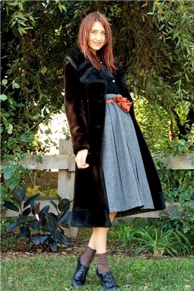 dark brown vintage coat - gray thrifted skirt - black Splendid cardigan - navy t