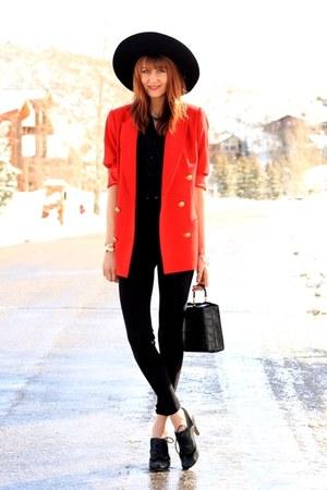 red vintage jacket - black riding pant American Apparel pants