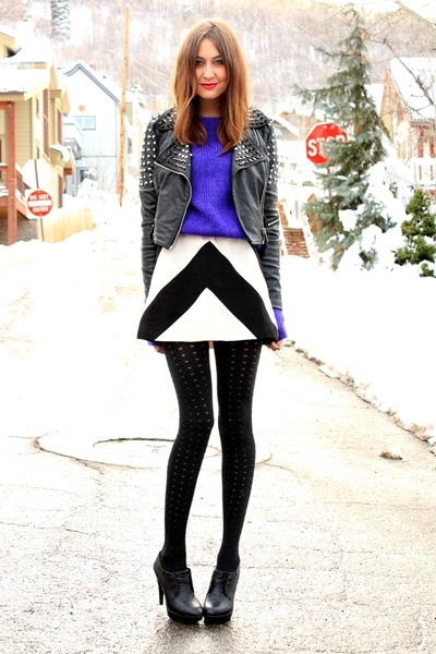 black jacket - white Karta dress - deep purple vintage sweater
